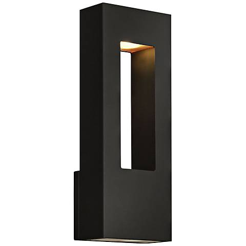 "Atlantis 16""H Black and Frosted Glass LED Outdoor Wall Light"