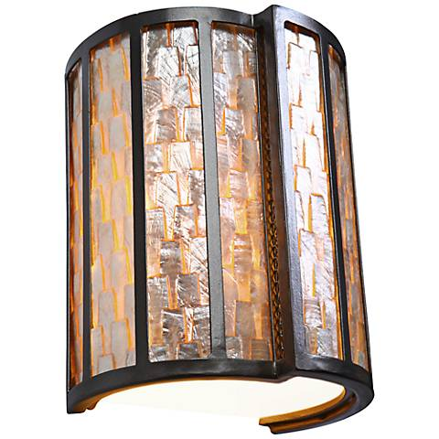 """Varaluz Affinity 10"""" High Natural Capiz Shell Wall Sconce"""