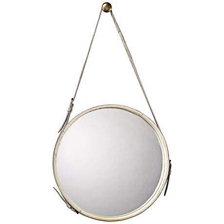 """Jamie Young White Leather Strap 29"""" High Round Wall Mirror"""