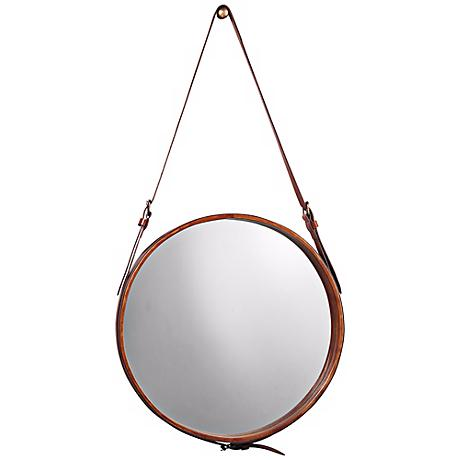 """Jamie Young Leather Strap 19"""" High Round Wall Mirror"""