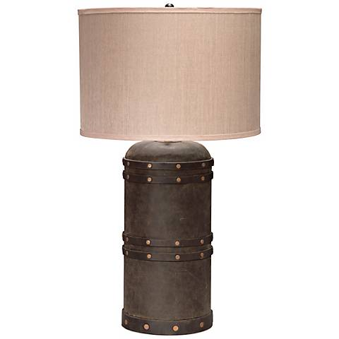 Jamie Young Barrel Vintage Leather Table Lamp