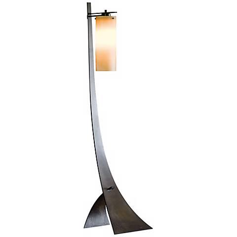 Hubbardton Forge Stasis Floor Lamp with Amber Glass Shade