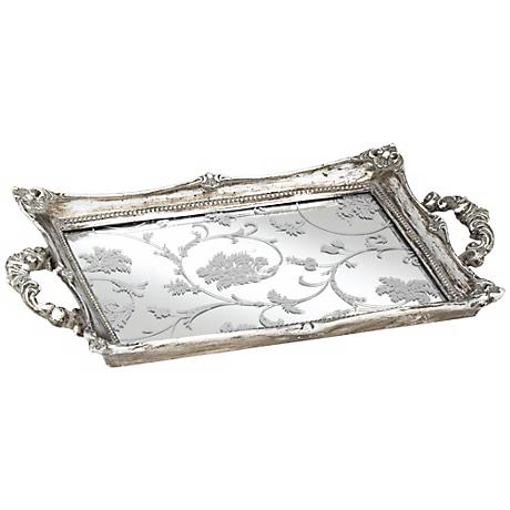 """Floral Pattern 13"""" Wide Silver Mirrored Tray"""