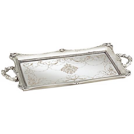 "Victoria Large 22 1/2"" Wide Silver Mirrored Tray"