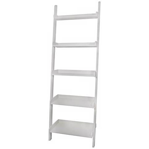 White Finish Solid Wood 5 Tier Leaning Shelf