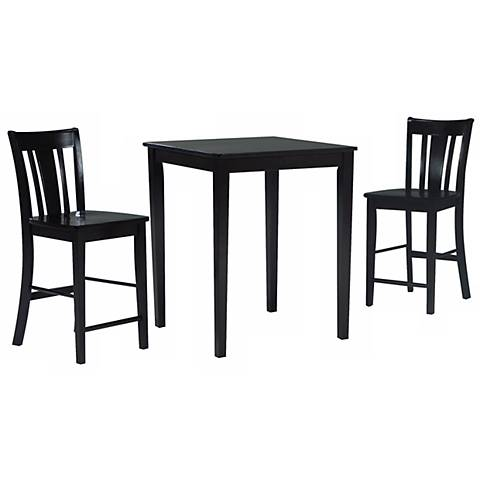 Black Onyx Gathering Table with 2 San Remo Stools