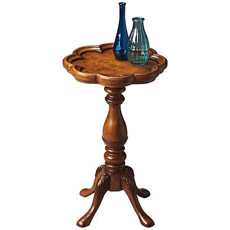 """Olive Ash Burl Wood 20"""" High Scatter Table"""