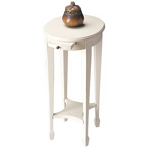 Cottage White Pull Tray Accent Table