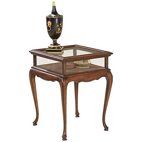 Plantation Cherry and Glass Curio Table