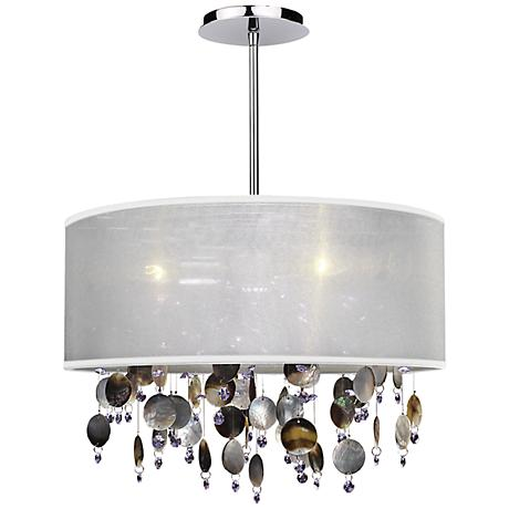 """Around Town Pearl and White 18"""" Wide Pendant Chandelier"""