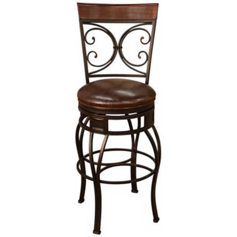 heritage treviso pepper 34 swivel bar stool u5299 lamps plus. Black Bedroom Furniture Sets. Home Design Ideas