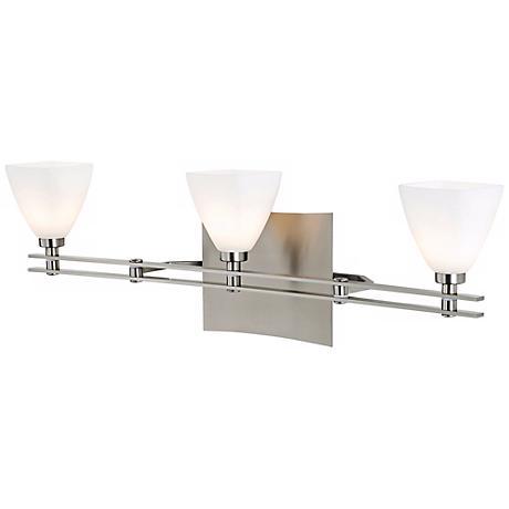 toronado glass 24 wide nickel bathroom light u5334 lamps plus. Black Bedroom Furniture Sets. Home Design Ideas