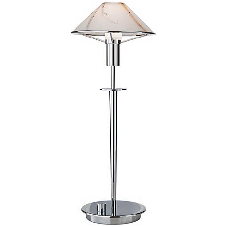 Chrome and Marble Glass Tented Halogen Holtkoetter Desk Lamp