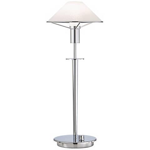 Chrome and Satin White Tented Halogen Holtkoetter Desk Lamp