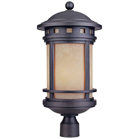 """Sedona 23"""" High Amber Glass Bronze Outdoor Post Light"""