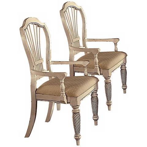 Set of 2 Wilshire Antique White Arm Chairs