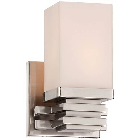 """Bennett Collection Satin Nickel 4 1/2"""" Wide Wall Sconce"""