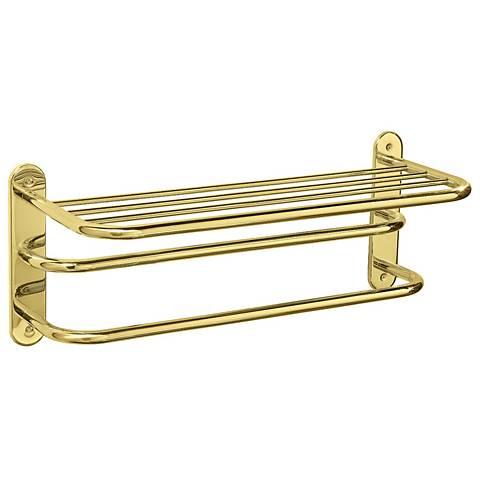 """Gatco Polished Brass 26 1/2"""" Wide 2-Bar Spa Towel Rack"""