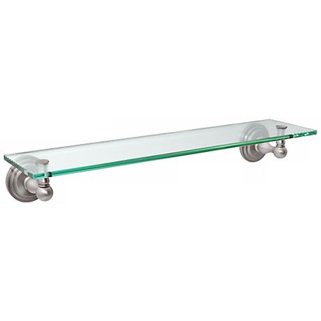 "Gatco Marina 20"" Wide Glass and Satin Nickel Wall Shelf"