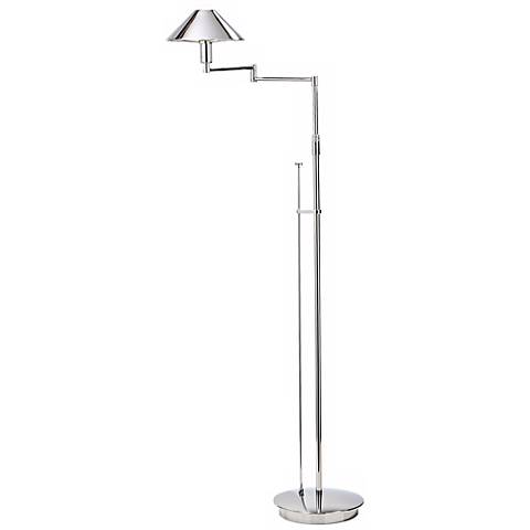 Chrome Metal Shade Swing Arm Holtkoetter Floor Lamp