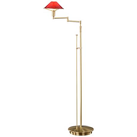 Brushed Brass with Magma Red Glass Holtkoetter Floor Lamp