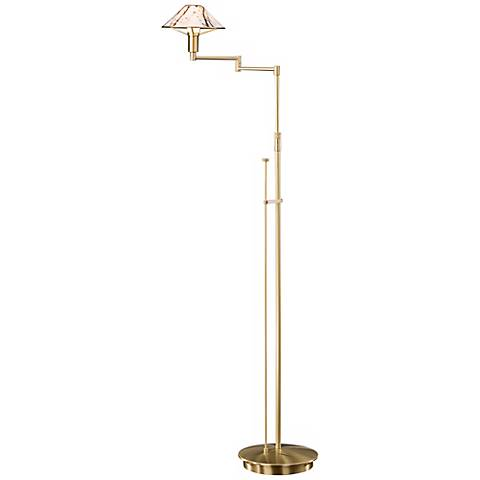Brushed Brass Marble Glass Swing Arm Holtkoetter Floor Lamp