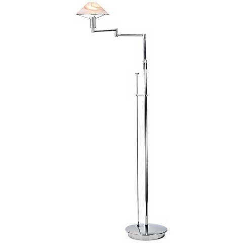 Chrome with Alabaster Brown Swing Arm Holtkoetter Floor Lamp
