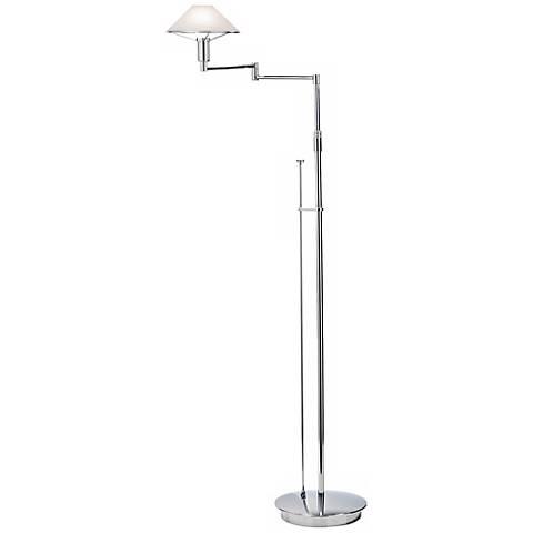Chrome with Alabaster White Swing Arm Holtkoetter Floor Lamp