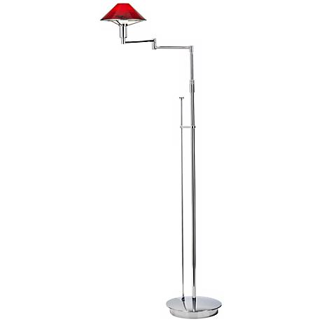 Chrome with Magma Red Swing Arm Holtkoetter Floor Lamp