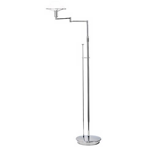 Chrome with Satin White Swing Arm Holtkoetter Floor Lamp