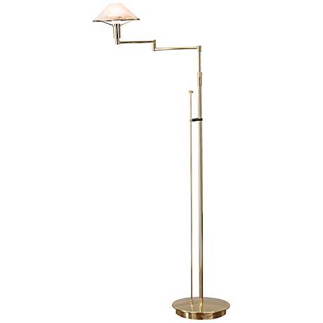 Polished Brass Brown Alabaster Glass Holtkoetter Floor Lamp