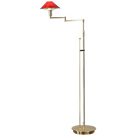 Polished Brass with Magma Red Glass Holtkoetter Floor Lamp