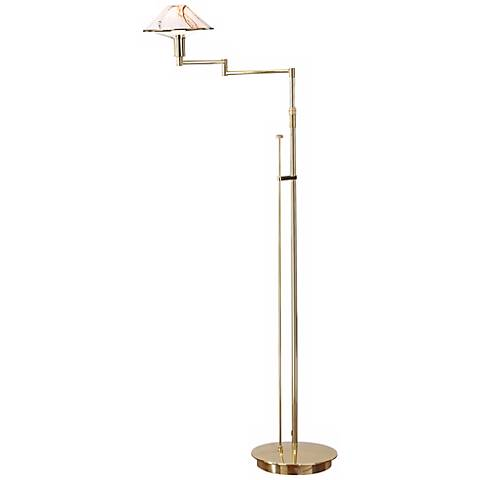 Polished Brass with Marble Holtkoetter Floor Lamp