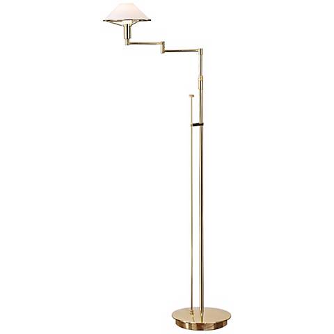 Polished Brass with True White Glass Holtkoetter Floor Lamp