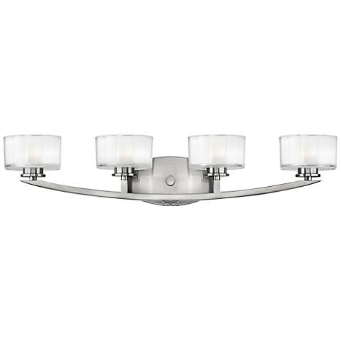 "Hinkley Meridian 29"" Wide Brushed Nickel Bathroom Light"