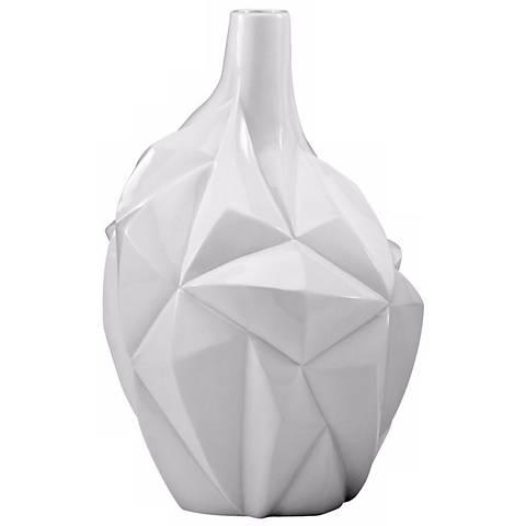 """Small Glacier Glass White 13"""" High Vase"""