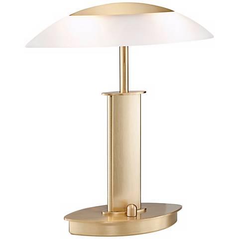 Mini Brushed Brass and Satin Glass Holtkoetter Desk Lamp