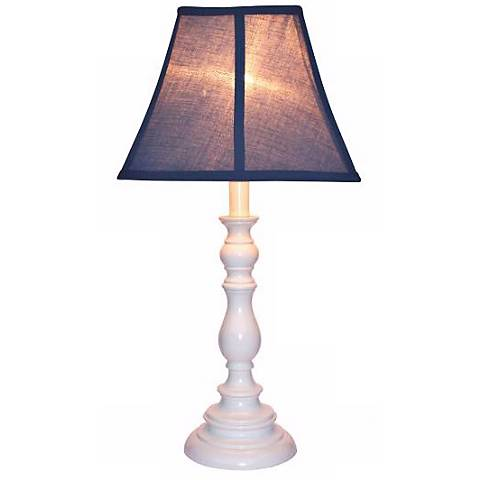Navy Blue Shade with White Candlestick Base Table Lamp