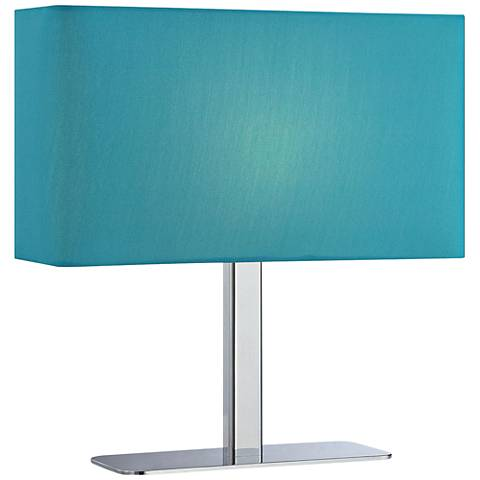 Lite Source Levon Teal Blue Shade Rectangular Table Lamp