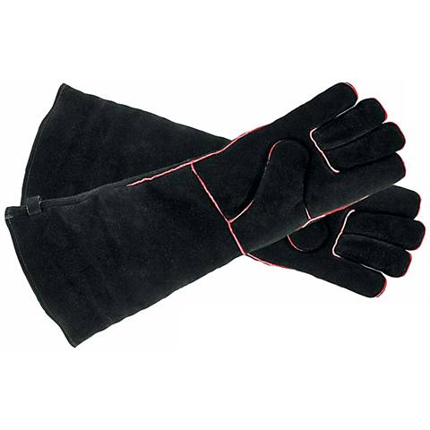 Black with Red Trim Long Suede Hearth Gloves