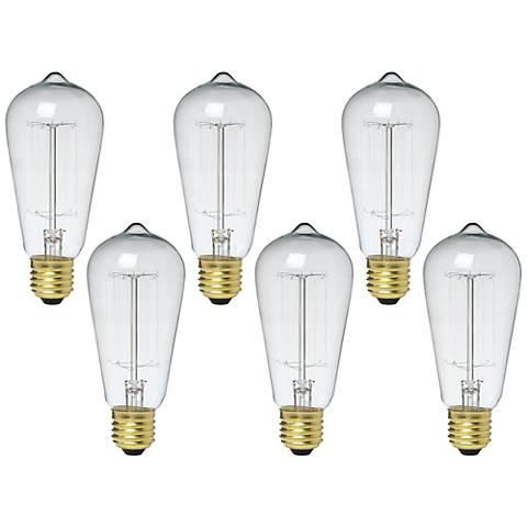 6-Pack Nostalgic 60 Watt Edison Style Medium Base Bulbs