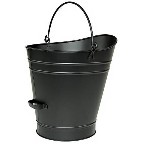 "Black 18"" High Iron Coal Hod or Pellet Bucket"