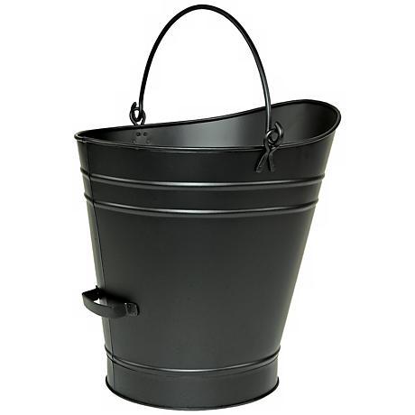 "Black 18"" High Iron Coal Hod or Pellet Bucket"