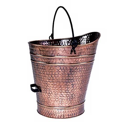 "Antique Copper 18"" High Iron Coal Hod or Pellet Bucket"