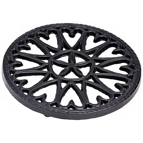 Sunburst Black Round Cast Iron Trivet