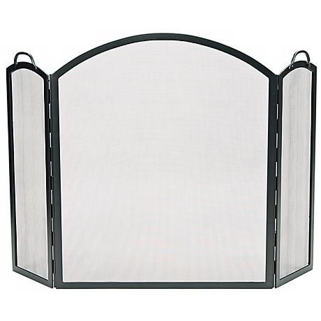 """Three-Fold Graphite 34 1/2"""" High Arched Fireplace Screen"""
