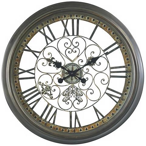 """Cooper Classics Marlow 24 1/2"""" Wide Wall Clock"""