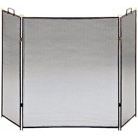 "Three-Fold Black 30"" High Flat Fireplace Screen"
