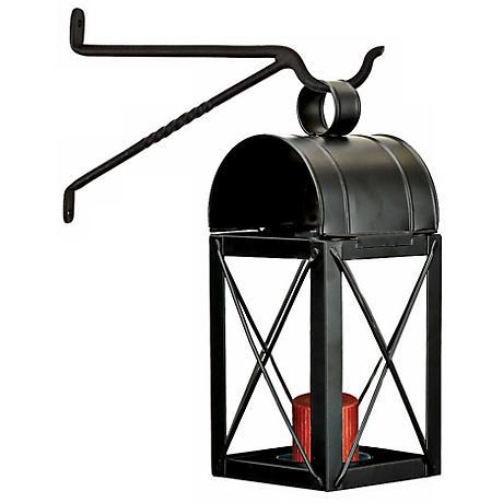 Travis Powder Coated Black Iron House Lantern Candle Holder