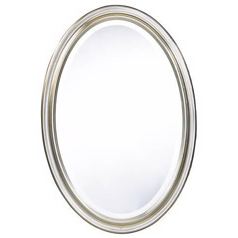 "Cooper Classics Silver Blake 31 1/2"" High Oval Wall Mirror"